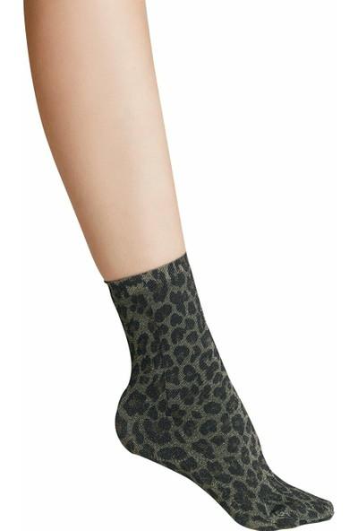 Suwen Shinny Soket Çorap - Leopar Desenli