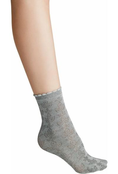 Suwen Ajur Soket Çorap - Gri