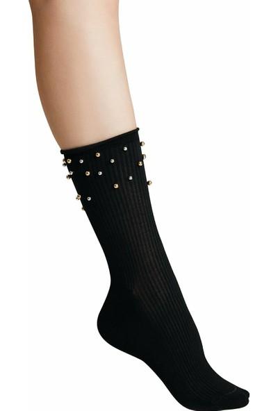 Suwen Pearl Soket Çorap - Siyah