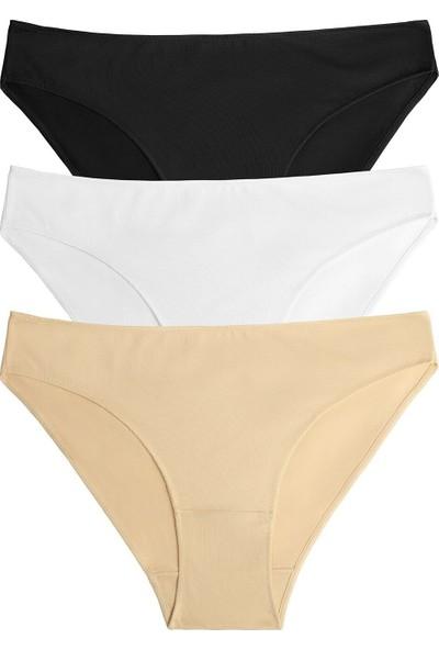 Suwen 3 Lü Paket Slip Külot - Siyah/Beyaz/Ten Rengi