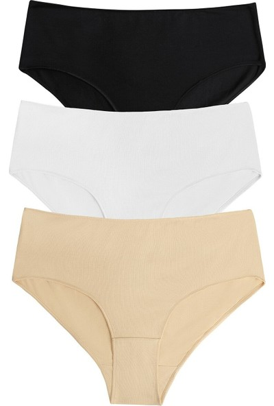 Suwen 3 Lü Paket Yüksek Bel Slip Külot - Siyah/Beyaz/Ten Rengi