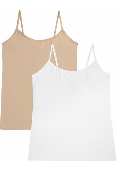 Suwen Soft Touch Cotton İnce Askili Atlet 2 Pack - Whıte/Skın