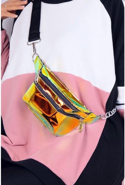 Roz Hologram Kadın Bel Çantası