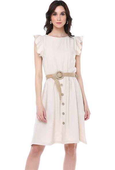 Livanomi Kolları Fırfırlı Hasır Kemerli Taş Rengi Elbise