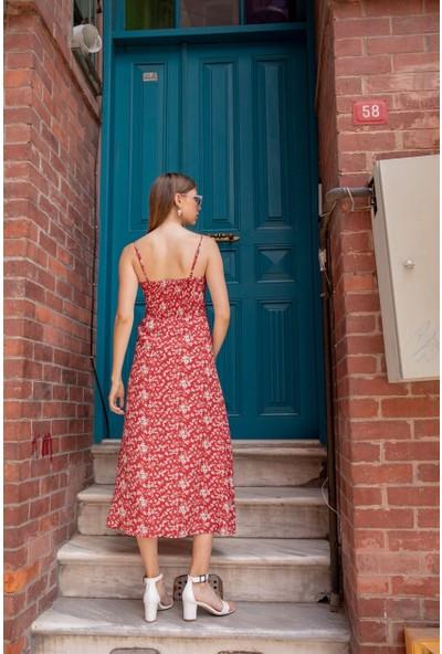 Livanomi Çiçekli Askılı Elbise