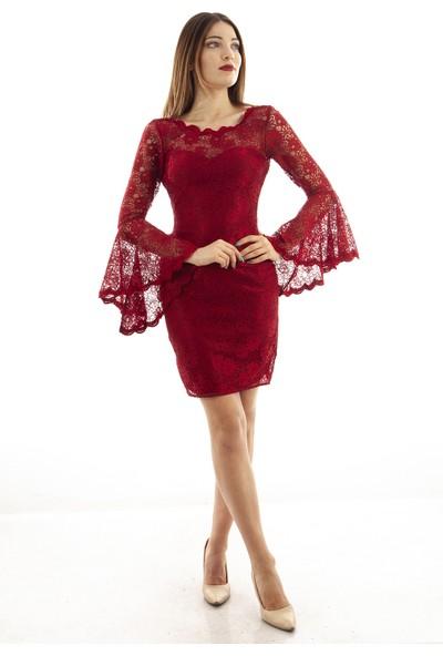Ardanewline Kadın Bordo Elbise 130103-12.04