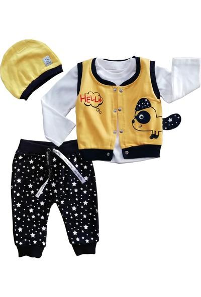 May Mirr Bebek 4'Lü Takım Sarı Yelekli Pamuklu Kumaş