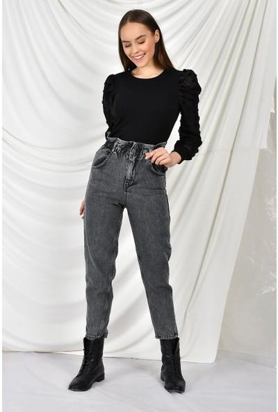 Tena Moda Kadın Gri Bel Lastikli Mom Jean Pantolon 9KBJNSCLMOM