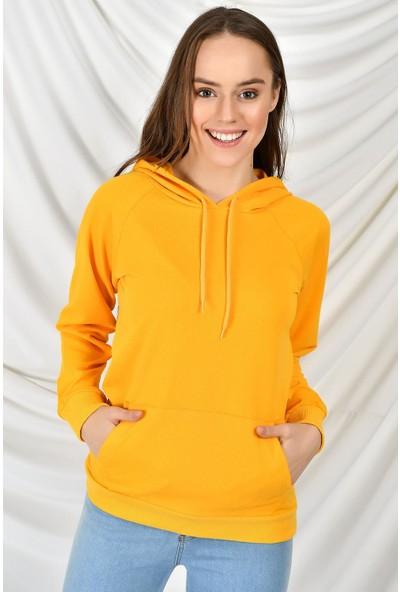 Tena Moda Kadın Hardal Kapüşonlu Kanguru Cepli Basic Sweatshirt 9KBSW3020-1