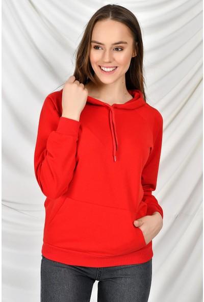 Tena Moda Kadın Kırmızı Kapüşonlu Kanguru Cepli Basic Sweatshirt 9KBSW3020-1
