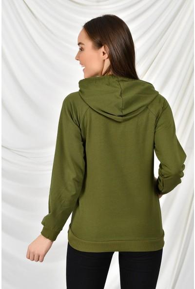 Tena Moda Kadın Haki Kapüşonlu Kanguru Cepli Basic Sweatshirt 9KBSW3020-1