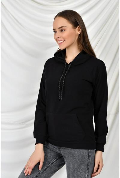 Tena Moda Kadın Siyah Kapüşonlu Kanguru Cepli Basic Sweatshirt 9KBSW3020-1