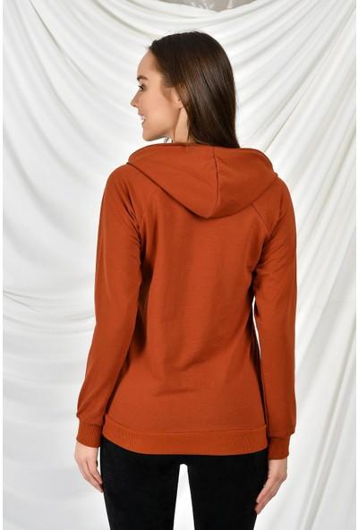 Tena Moda Kadın Kiremit Kapüşonlu Kanguru Cepli Basic Sweatshirt 9KBSW3020-1