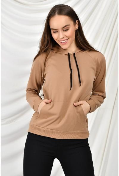 Tena Moda Kadın Bisküvi Kapüşonlu Kanguru Cepli Basic Sweatshirt 9KBSW3020-1