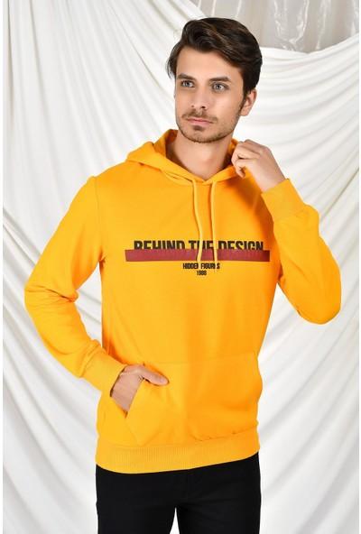 Tena Moda Erkek Hardal Kapüşonlu Kanguru Cepli Behind Baskıl Sweatshirt 9KESW4013-1