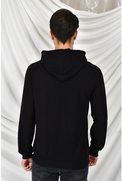 Tena Moda Erkek Siyah Kapüşonlu Kanguru Cepli Behind Baskıl Sweatshirt 9KESW4013-1