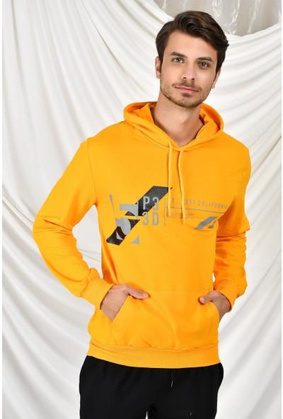 Tena Moda Erkek Hardal Kapüşonlu Kanguru Cepli P3 Baskıl Sweatshirt 9KESWTN4013