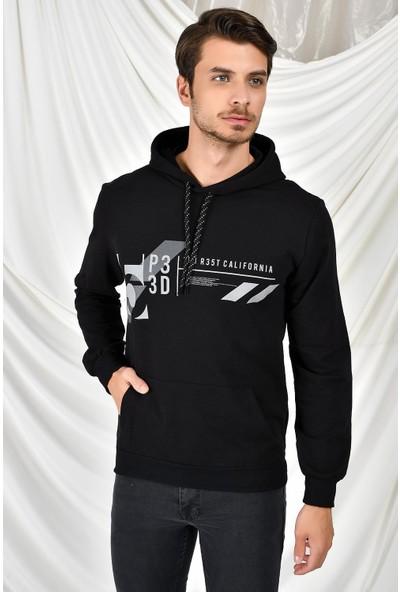 Tena Moda Erkek Siyah Kapüşonlu Kanguru Cepli P3 Baskıl Sweatshirt 9KESWTN4013