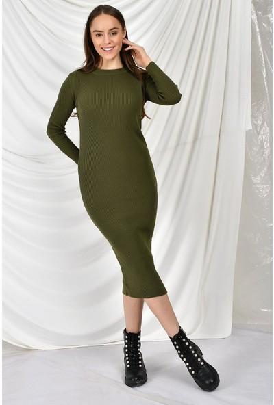 Tena Moda Kadın Haki Dar Triko Elbise 9YBELLU6140