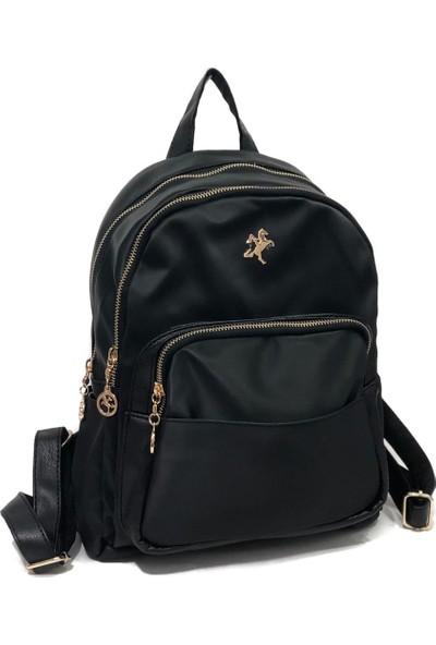 Nas Bag Kadın Sırt Çantası Ebat 34 x 27 cm Siyah Saten