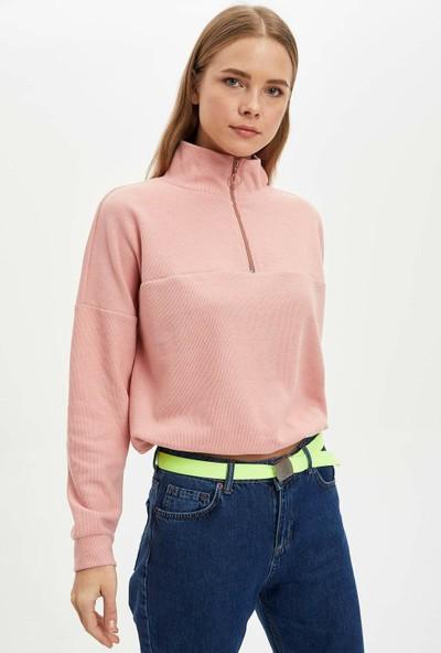 Defacto Fermuar Detaylı Büzgülü Sweatshirt