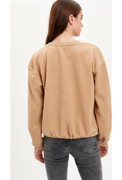 Defacto Baskılı Yarım Düşük Omuz Sweatshirt