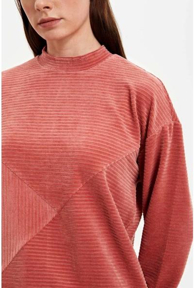 Defacto Dik Yaka Fermuar Detaylı Uzun Kollu T-shirt