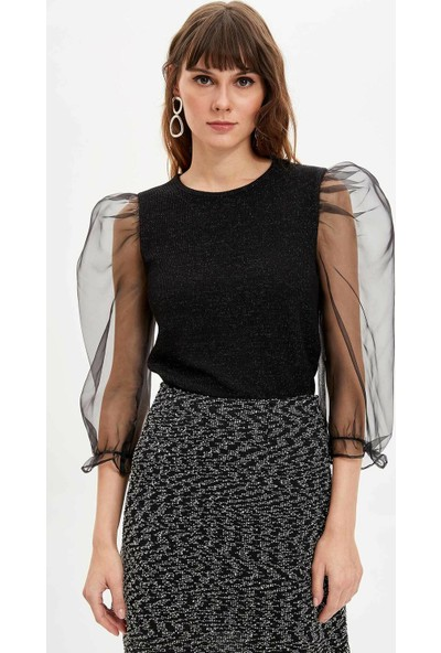 Defacto Slim Fit Kolları Tül Uzun Kollu T-shirt