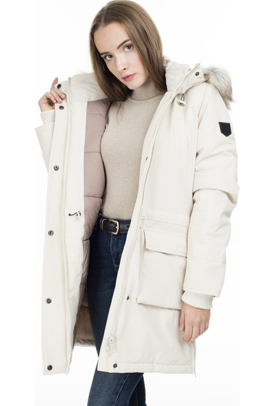 Only Kadın Günlük Mont 15160017-Moonbeam Krem Onlnew Sally Long Nylon Coat Otw
