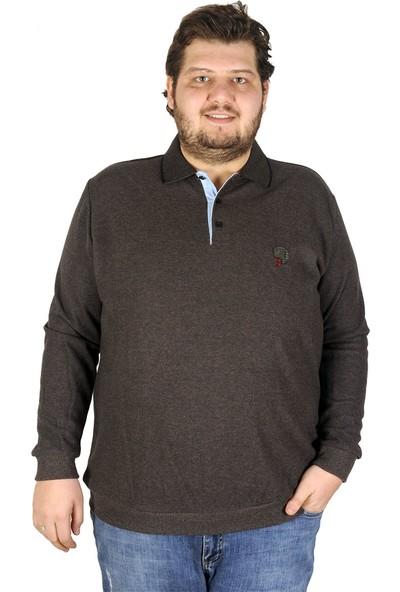 ModeXL Büyük Beden Erkek Sweatshirt Polo Brand 19448 Kahverengi