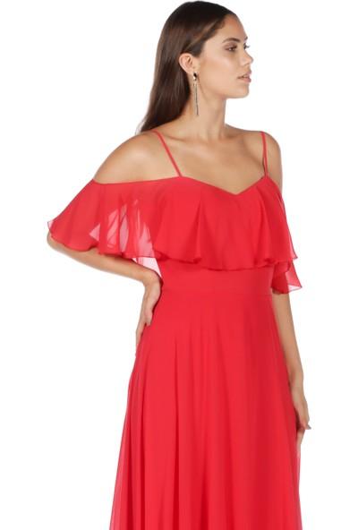 6ixty8ight Kırmızı Düşük Kollu Askılı Uzun Abiye Elbise