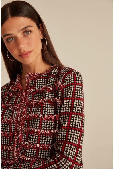 Joın Us Kadın Kazayağı Desenli Püsküllü Taş Düğmeli Triko Ceket Multi