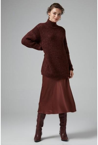 Joın Us Kadın Yarım Balıkçı Yaka Simli Triko Elbise Patlıcan Bakır Multi