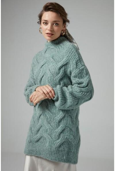 Joın Us Kadın Saç Örgülü Yarım Balıkçı Yaka Triko Elbise Mint