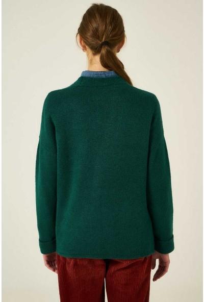 Joın Us Kadın Düğmeli Ve Cepli Hırka Küf Yeşili