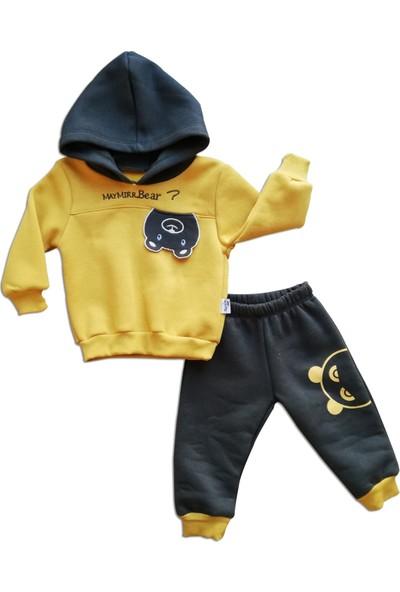 Erkek Çocuk 2'li Kapşonlu Eşofman Takımı Sarı Kışlık Kalın Kumaş 1 Yaş