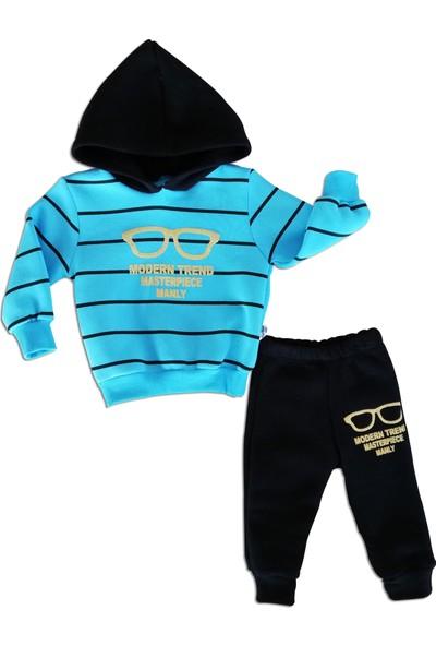 Erkek Çocuk 2'li Kapşonlu Eşofman Takımı Mavi Kalın Kışlık Kumaş 1 Yaş