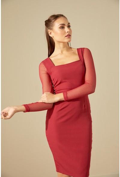 Trendmay Kadın Kol Tül Detay Kalem Elbise Bordo