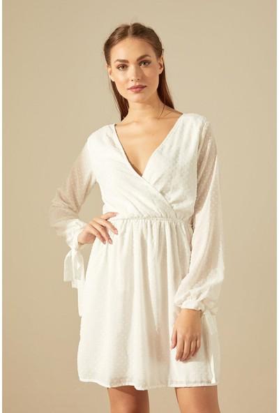 Trendmay Kadın Kruvaze Yaka Kolu Bağcıklı Elbise Beyaz