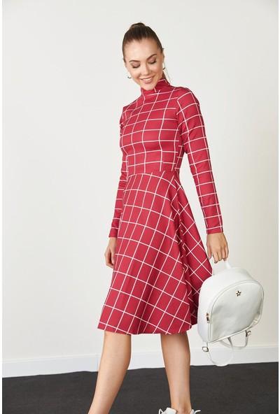 Trendmay Kadın Ekose Detay Elbise Kırmızı