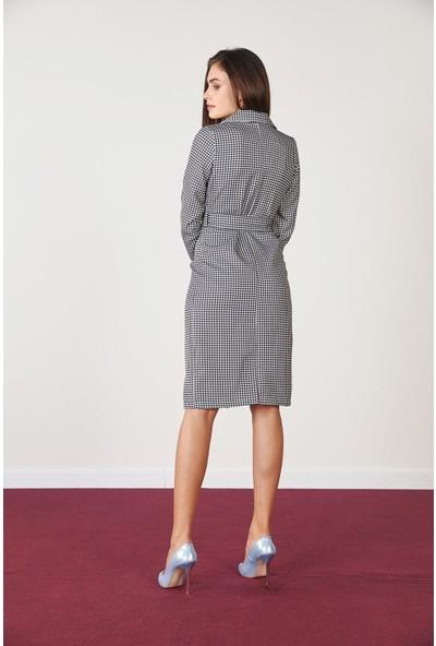 Trendmay Kadın Ekose Detay Düğmeli Elbise SiyahBeyaz