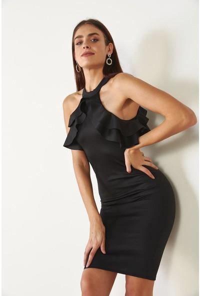 Trendmay Kadın Yaka Fırfır Elbise Siyah