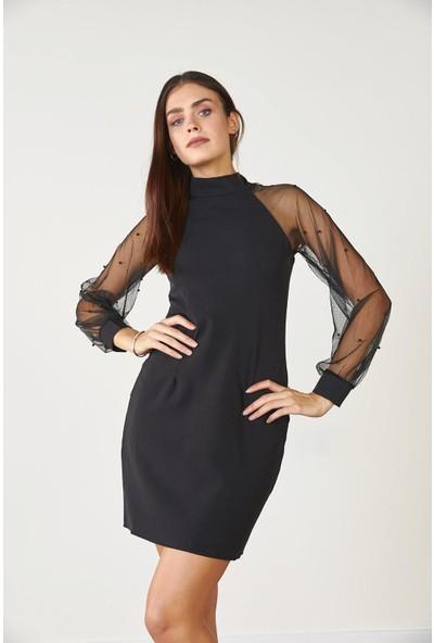 Trendmay Kadın Kolu İncili Elbise Siyah