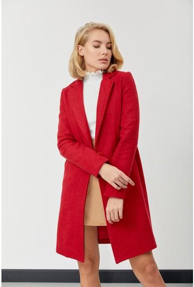 Trendmay Kadın Kaşe Kaban Kırmızı