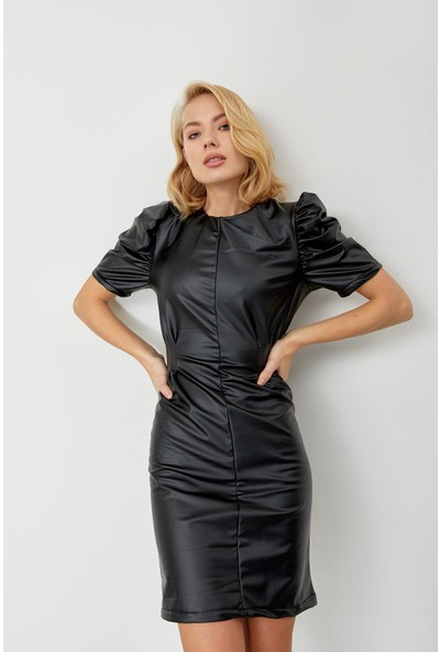 Trendmay Kadın Deri Elbise Siyah