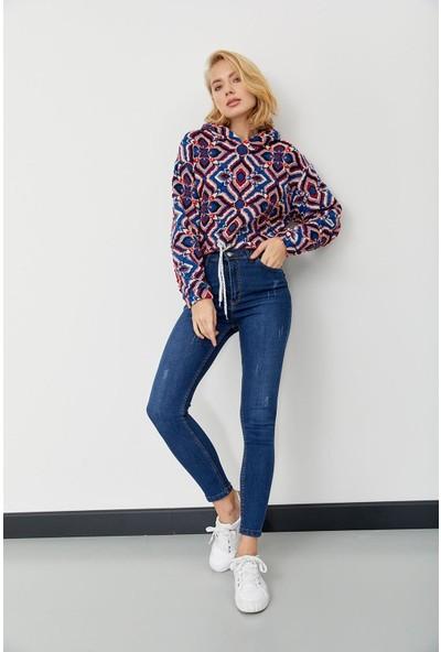 Trendmay Kadın Desenli Sweatshirt Desenli