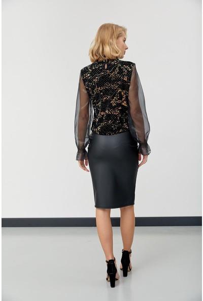 Trendmay Kadın Kolları Şifon Kadife Kumaş Bluz Siyah