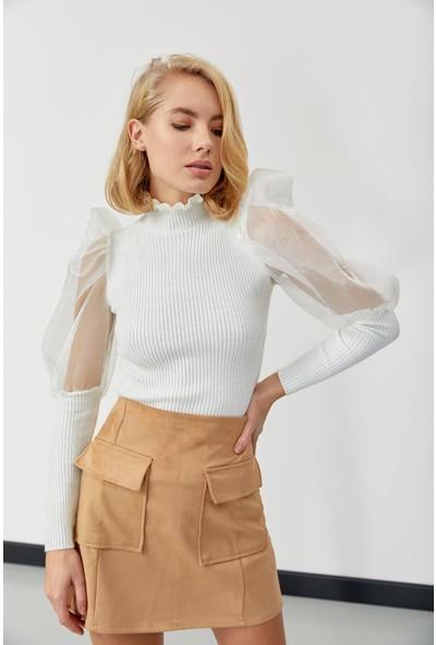Trendmay Kadın Boyun Detay Kolları Tül Triko Bluz Beyaz