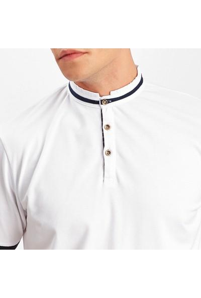 Manche Beyaz Polo Yaka T-Shirt | 4388