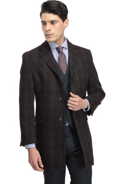 Twn Slim Fit Bordo Palto